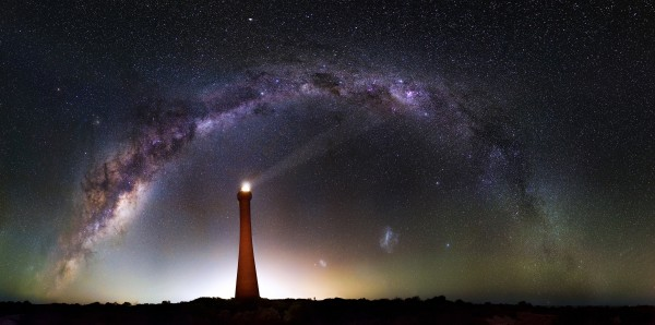 a 58 shot, 150MP image of the Milky Way over Guilderton Lighthouse in Western Australia.
