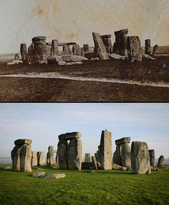 "Stonehenge, in the 1800s before ""restoration,"" and today."