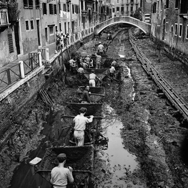 The Grand Canal being drained and cleaned – Venice, Italy