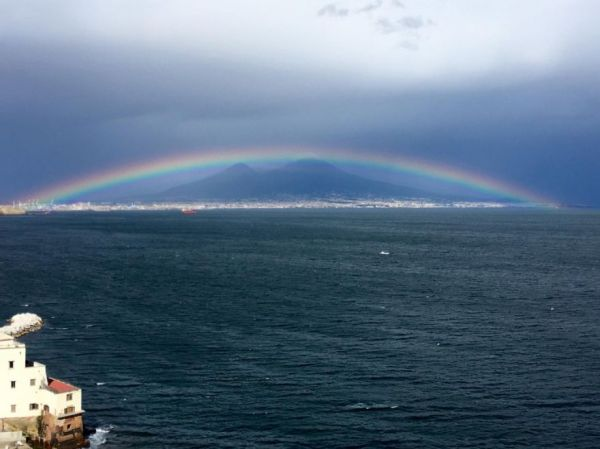 rainbow over Mount Vesuvius
