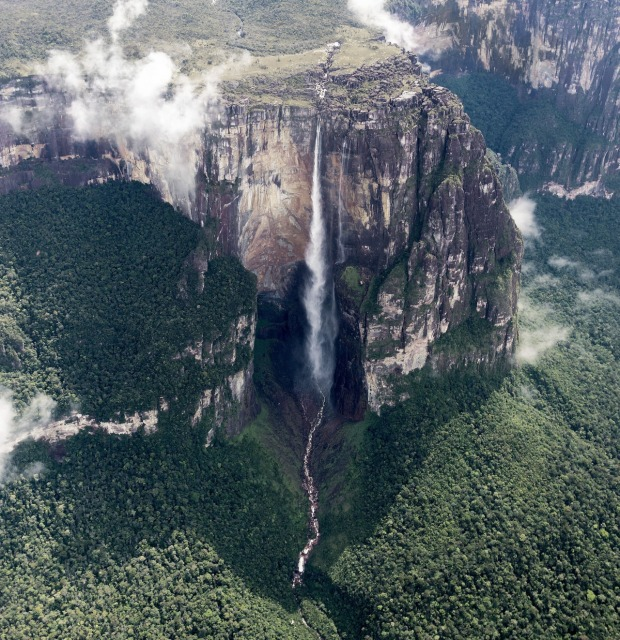 Angel Falls, Venezuela. The world's highest uninterrupted waterfall, with a height of 979 meters