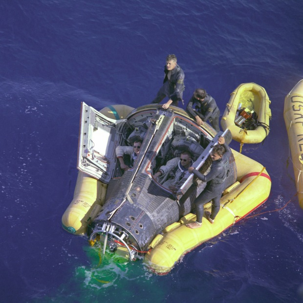 Neil Armstrong and David Scott landing on Earth after the end of the Gemini 8 mission, March 17th, 1966.