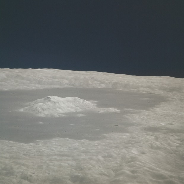 The Moon as seen from orbit during the Apollo 15 mission, July 31-August 2, 1971.