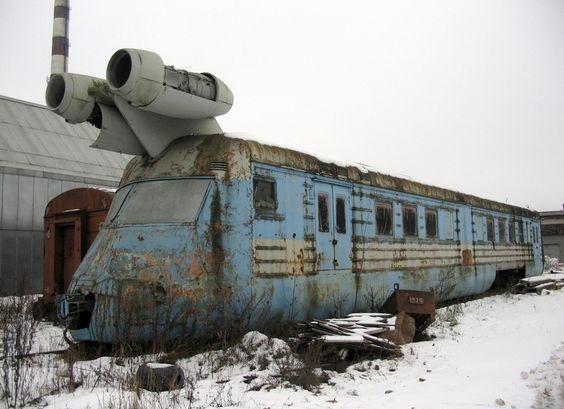 abandoned soviet jet train