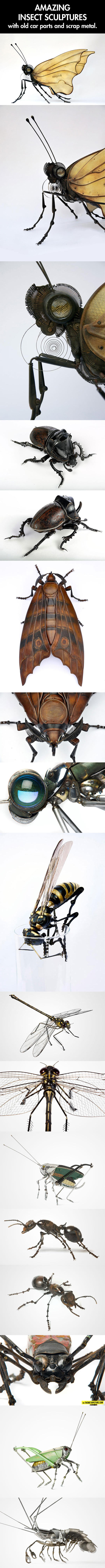 cool-insect-sculptures-artist-old-car